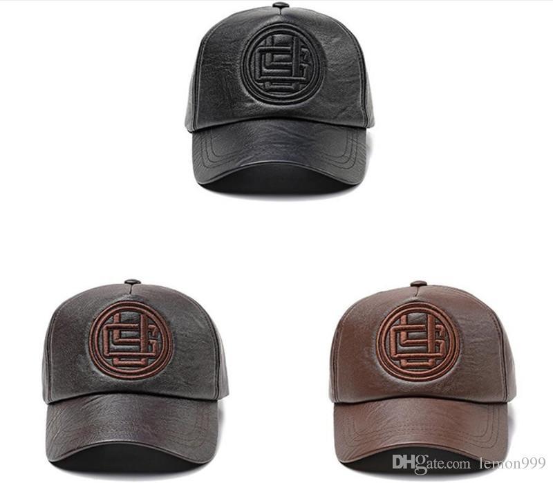 Moda ajustável de couro bonés de beisebol esporte ao ar livre hip hop chapéus snapback chapéus bonés de beisebol para homens mulheres café preto quente inverno chapéus