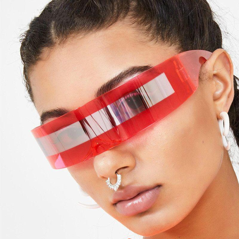 Прохладный Солнцезащитные очки Женщины Weird очки Halloween Party кольцо украшения очки для мужчин Смешные Футуристический Wrap Around костюм солнцезащитные очки маски