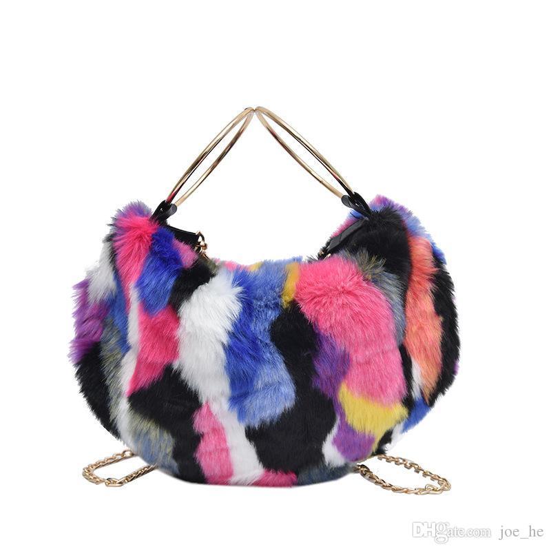 Designer-Faux Fur Bag 2019 Mulheres Luxo Fur bolsa com alça metálica Feminino Inverno Plush Shoulder Bag Multicolor Atacado Drop Shipping