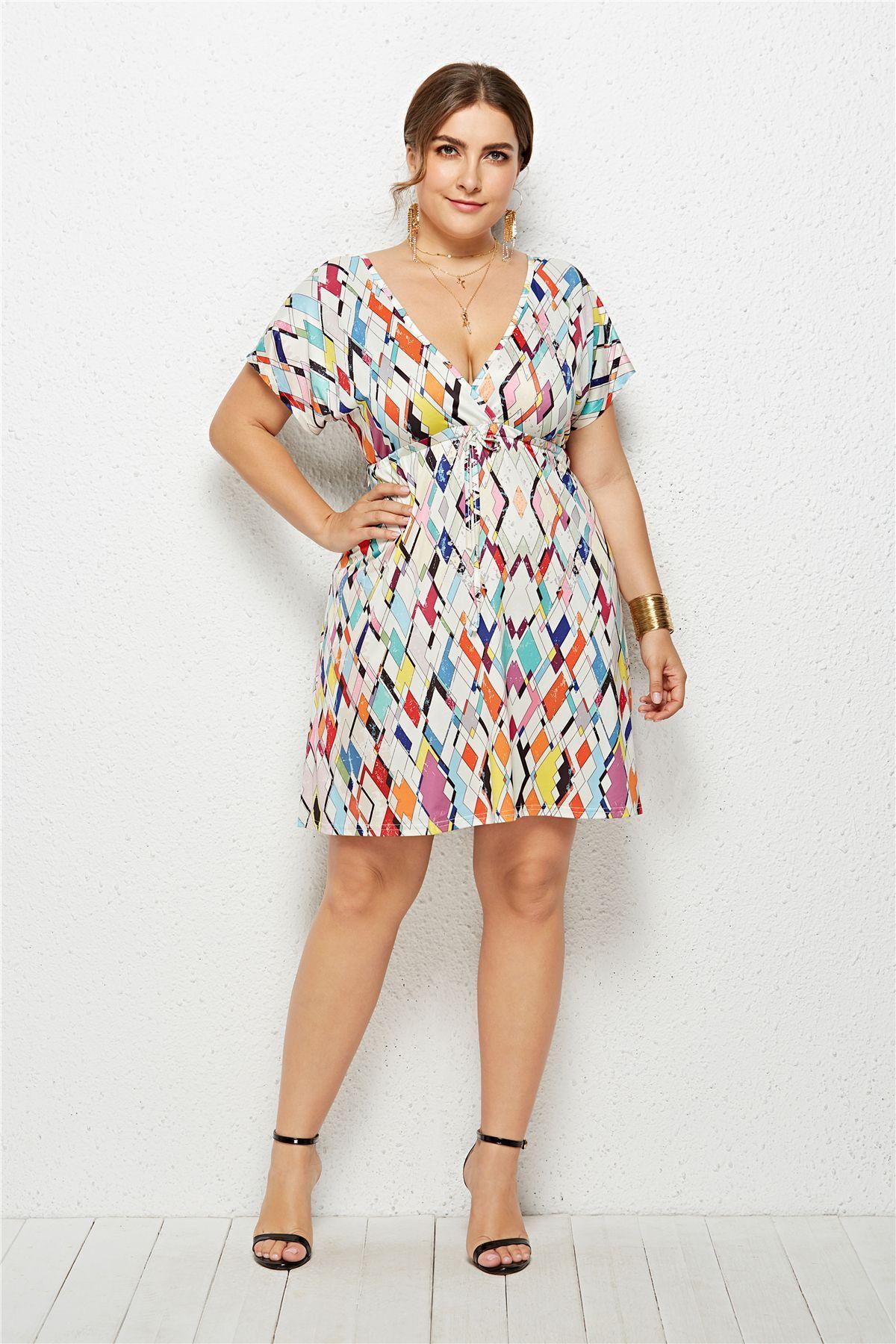 2019 New Women Summer Dress Plus Size Fashion V Neck Digital Print Large  Size Dresses Seaside Beach Vacation Holiday Sundress Tight White Dresses  For ...