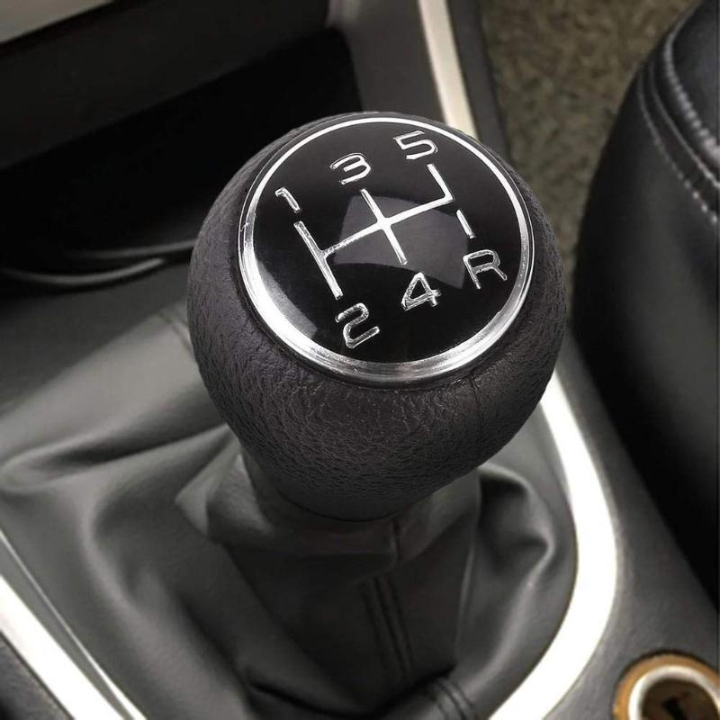 Car Gear Shift Knob Lever Stick 5 Speed Leather Car Shift Lever For For Black Knob Shifter Cover d18