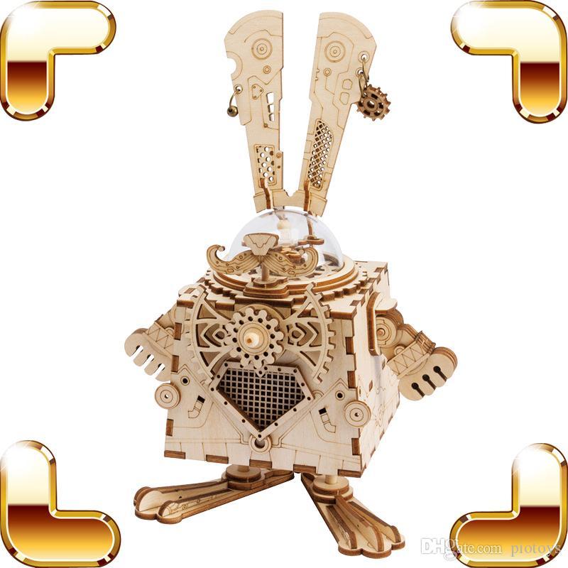 هدية عيد استكشاف الفضاء الكرتون سلسلة 3d الألغاز صندوق الموسيقى diy خشبية اللغز التعليمية تعلم لعب الاطفال لعبة الذكاء