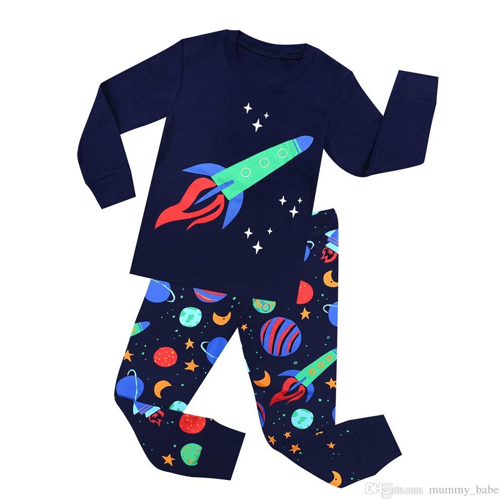 TINOLULING 2018 new kids pajamas children sleepwear rocket pijamas for 1-8 years girls boys stripe nightwear cars airplane pjs