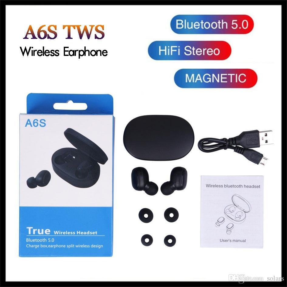 Ecouteur TWS A6S casque 5 couleurs Bluetooth 5.0 Bluetooth avec écouteurs casque micro pour les téléphones Samsung Xiaomi Huawei intelligents