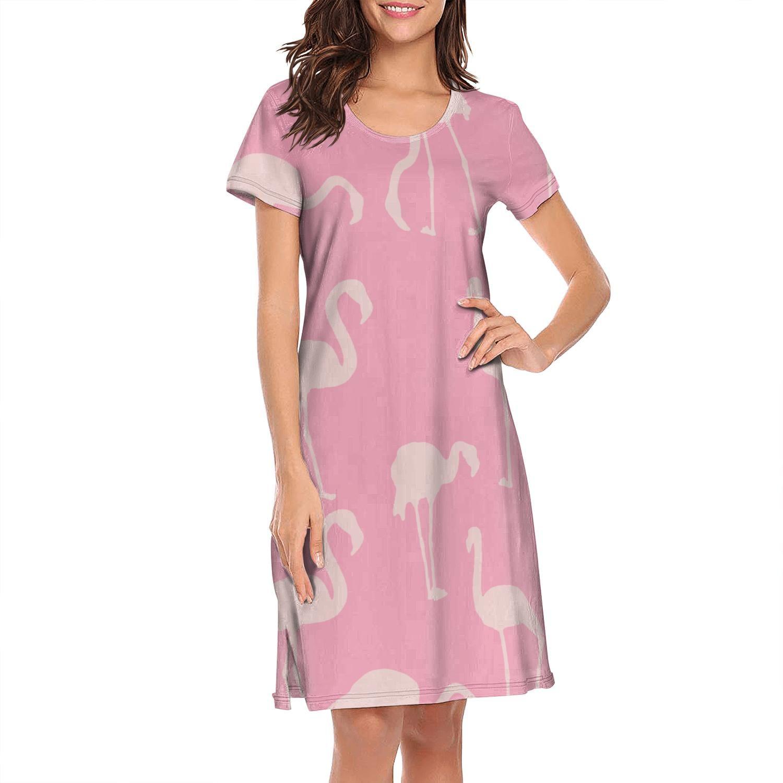 Nighties für Frauen entwerfen kundenspezifische humorvoll lovey rosa Flamingos kurze Ärmel Nachthemd Liebe Flamingo Pink Druck Zeichen Camouflage Marmor