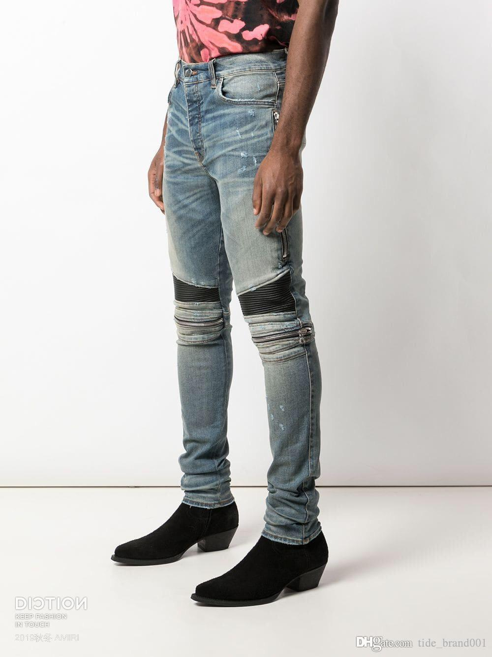 FALECTION 19FW USA FASHION CALIFORNIA AMIMIKE ZIPPER PATCH LEATHER PATCH DENIM JEANS
