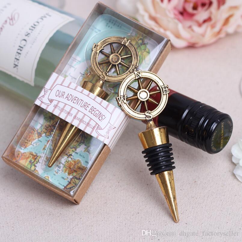 Altın Pusula Şarap Stoper Düğün Iyilik Ve Hediyeler Şarap Şişesi Açacağı Bar Araçları Hediyelik Eşya Için Parti Hediye LX6631