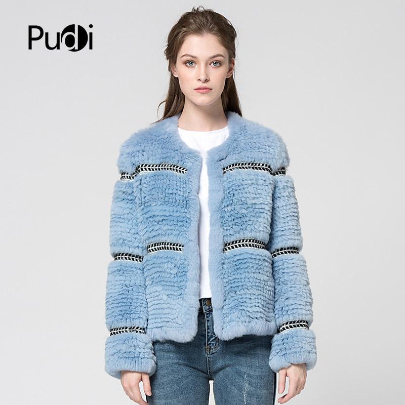 cappotti Pudi CT7027 Rex pelliccia lavorata a maglia maglia nuovo cappotto di pelliccia vera cappotto invernale donne giacca spessore caldo genuino
