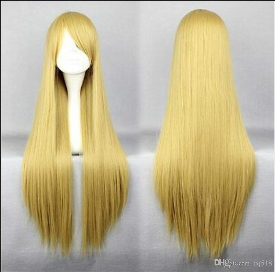 WIG free shipping New Fashion Cheap 80cm Long Synthetic Hair Blonde Anime Cosplay Costume Wig