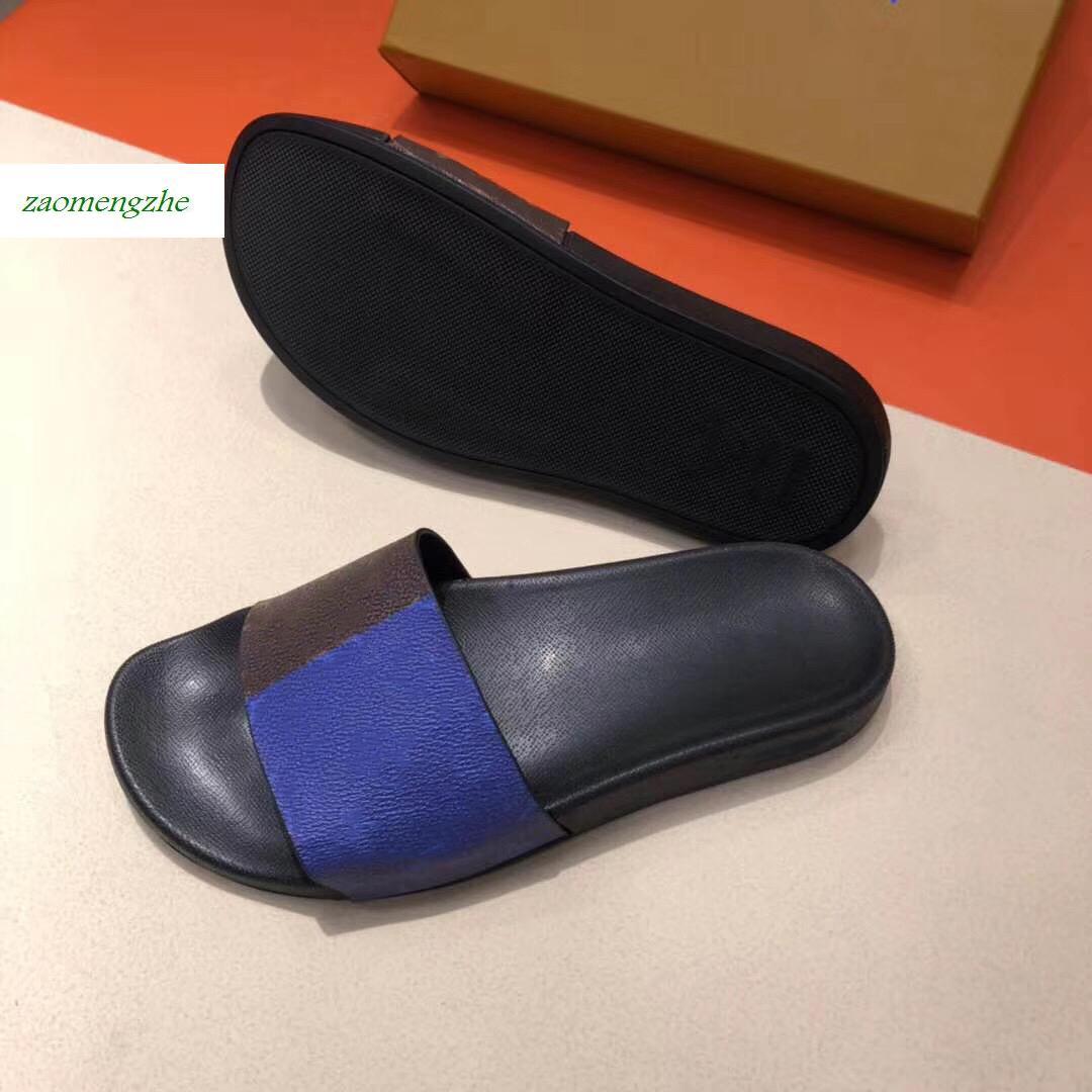 Мул тапочки плоские Роскошные дизайнерские туфли тапочки 1A5I5K гибкая резиновая подошва слайд мужские и женские тапочки size40