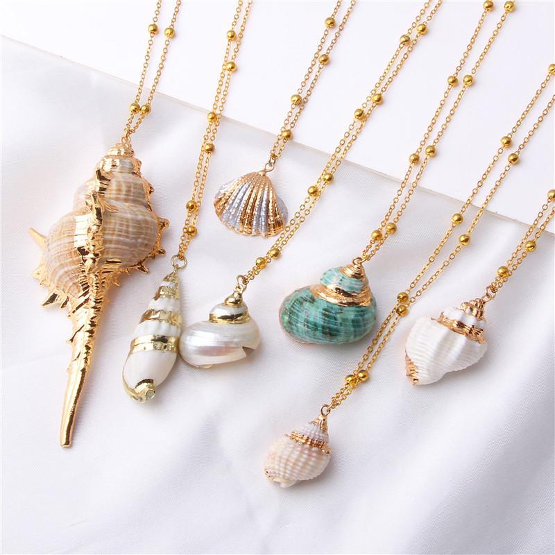 2019 Boho bijoux Conch chaînes bling Shell Collier Femme Collier Pendentif coquillage Choker Bijoux de Bohème Femme Miscible