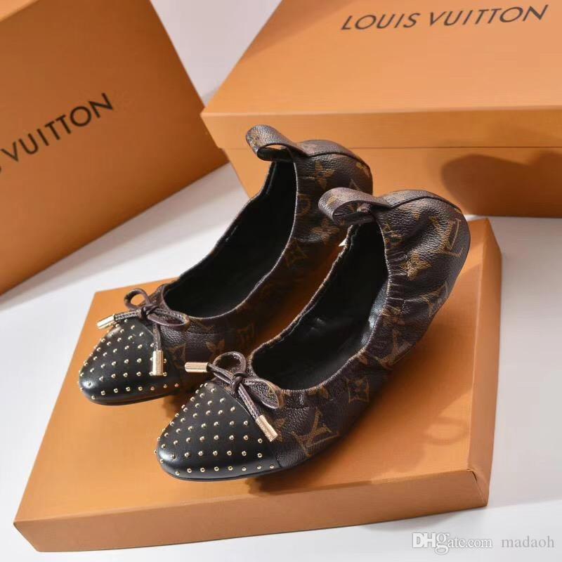 19ss Donna Primavera Ballerine cuoio genuino della ballerina di lusso Scarpe Donna Designers causali Slip-on Argento fannullone scarpe per le donne