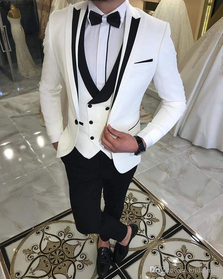 結婚式のための最新のホワイトスーツの結婚式タキシードの新郎は黒いピークのラペルの新郎の服装の服装男のブレザー3ピーストラシエスde Hombre Costume Homme