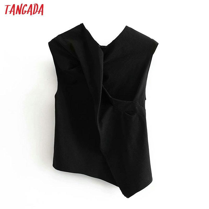 Tangada mulheres plissado camisas de algodão de verão 2020 nova sem mangas blusas projeto feminino Assimetria encabeça 3A73