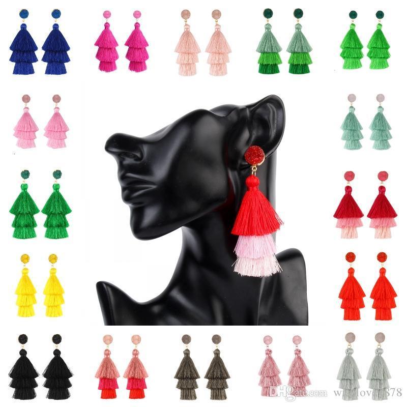 Renkli Katmanlı Bildirimi Püskül Küpe 18 Stiller Kadınlar Kızlar Kulak Takı Noel Hediye Boho Uzun Bırak Dangle Druzy Küpe