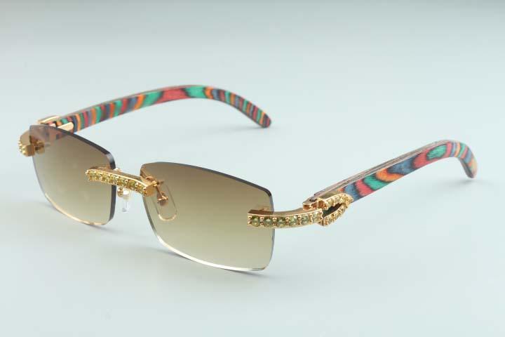 20 novos padrão cor natural óculos de sol do templo de madeira, tamanho 3524012 (2) de luxo amarelo grande diamante luxo óculos: óculos de sol 56-18-135mm