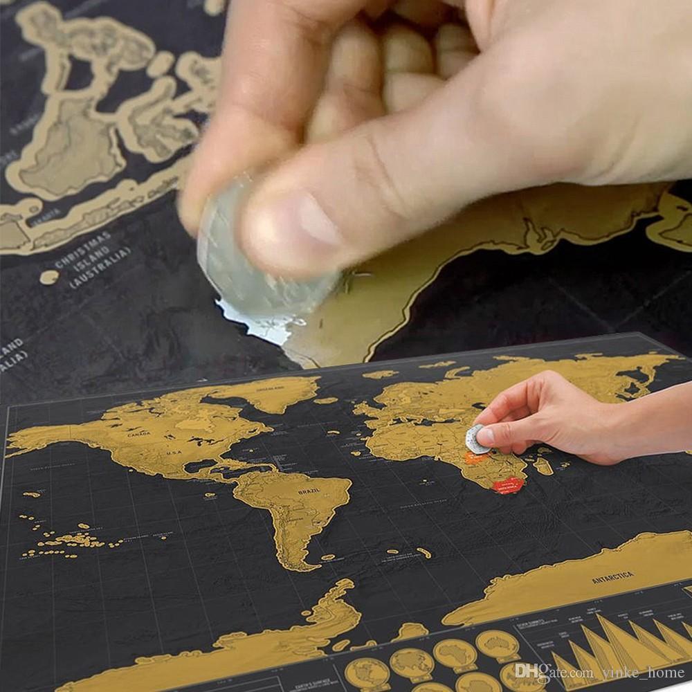 ديلوكس محو الأسود خريطة العالم خدش قبالة خدش خريطة العالم شخصية السفر لغرفة خريطة الصفحة الرئيسية الديكور ملصقات الحائط