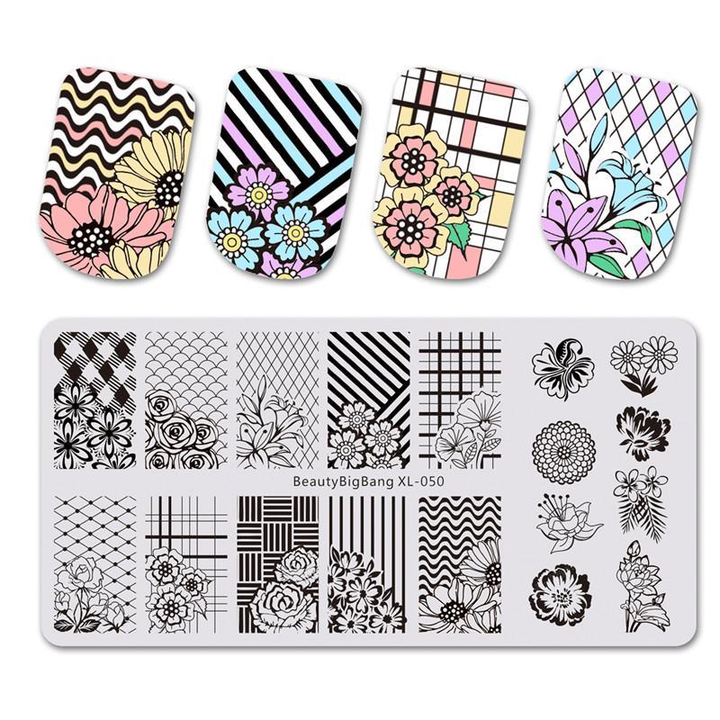 BeautyBigBang 1 шт. ногтей штамповки пластины цветок сетки плед геометрическое изображение штамповка для ногтей трафарет шаблон искусства инструменты XL-050
