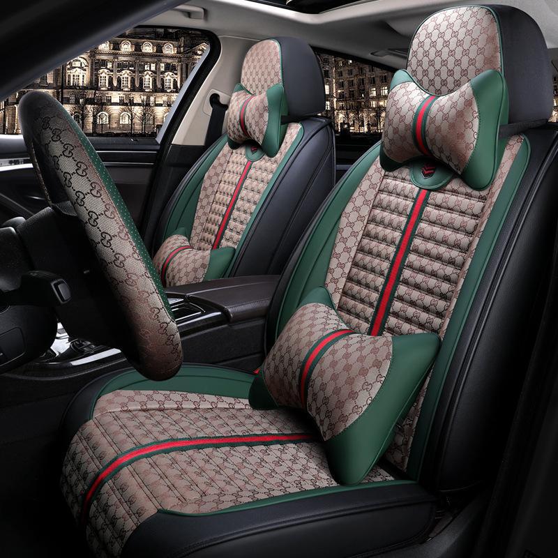 مقعد سيارة جديدة غطاء وسادة الأزياء الفاخرة الكتان كل غطاء مقعد السيارة مواسم لسيارات BMW ومرسيدس ومازدا وتويوتا وكيا العالمي الحجم