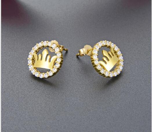 S925 Gümüş Taç Earrings449 ile Toptan Moda Elmas Küpe
