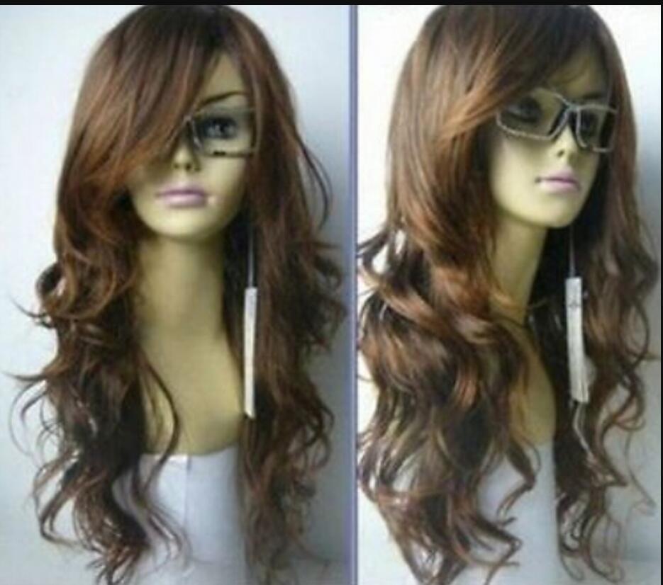 WIG envío gratis Nueva larga Vogue luz marrón moda pelucas de cabello ondulado
