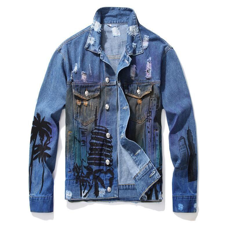 Art und Weise gedruckte Mens zerrissener Denim-Jacken Designer europäische und amerikanische Art Street Distressed Motorrad-Radfahrer-Jeans-Jacken-Mantel 994