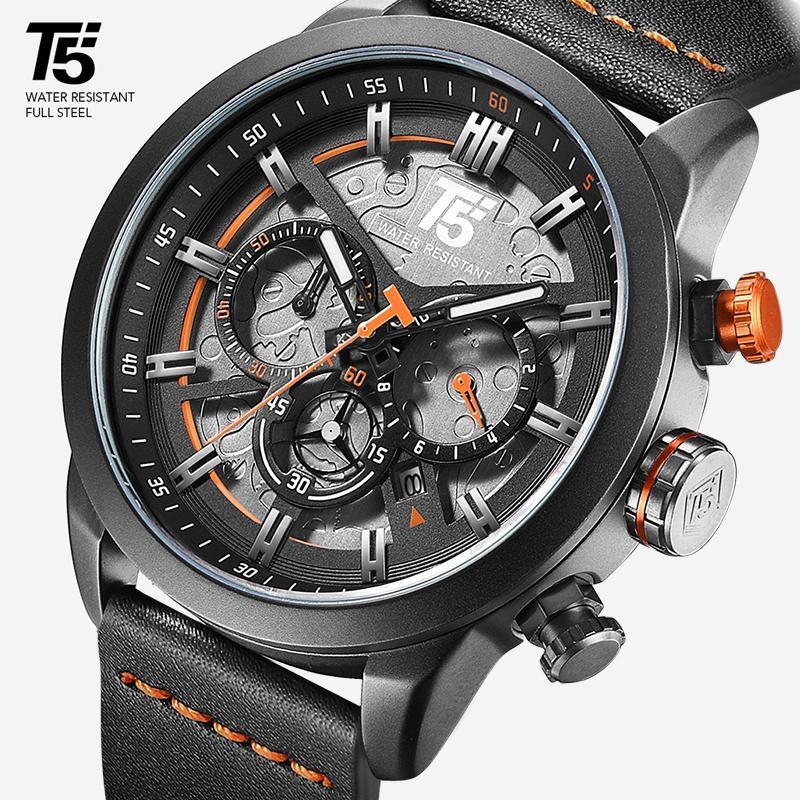 T5 브랜드 명품 남성 시계 남자 군사 석영 스포츠 손목 시계 남성 크로노 그래프 방수 남성 시계 스포츠 손목 시계