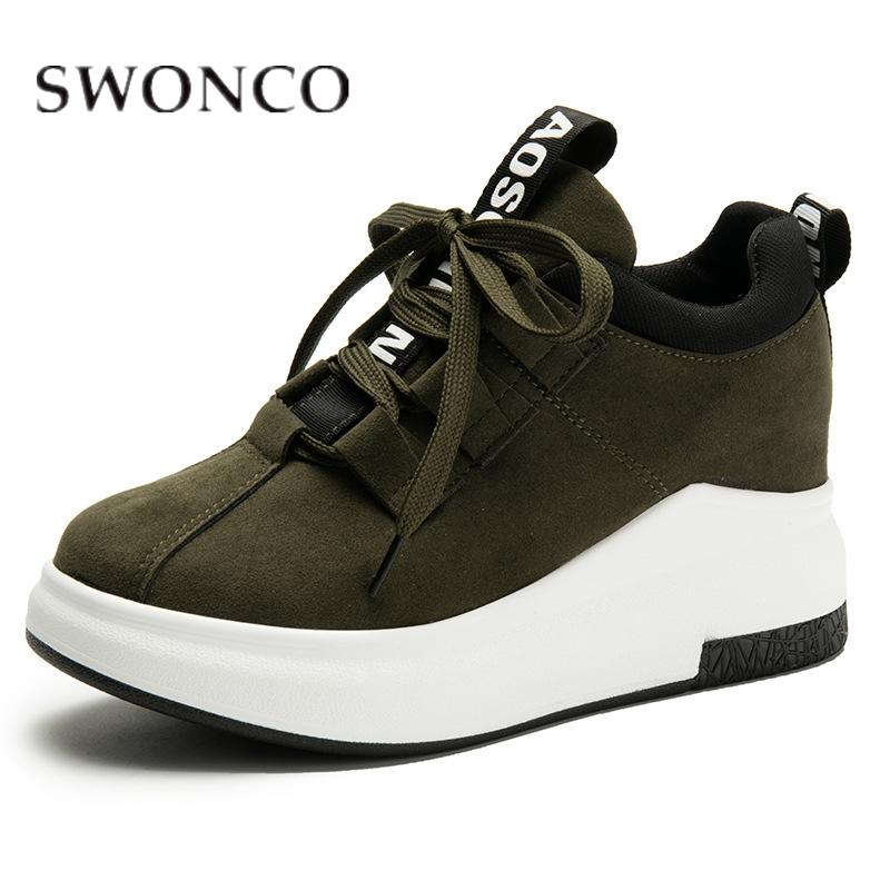 SWONCO Sneakers Women Canvas Wedges Invisible Heel Running Shoe Casual Shoes Letters Print Ins Fashion Ladies 2019 Green Sneaker CJ191228