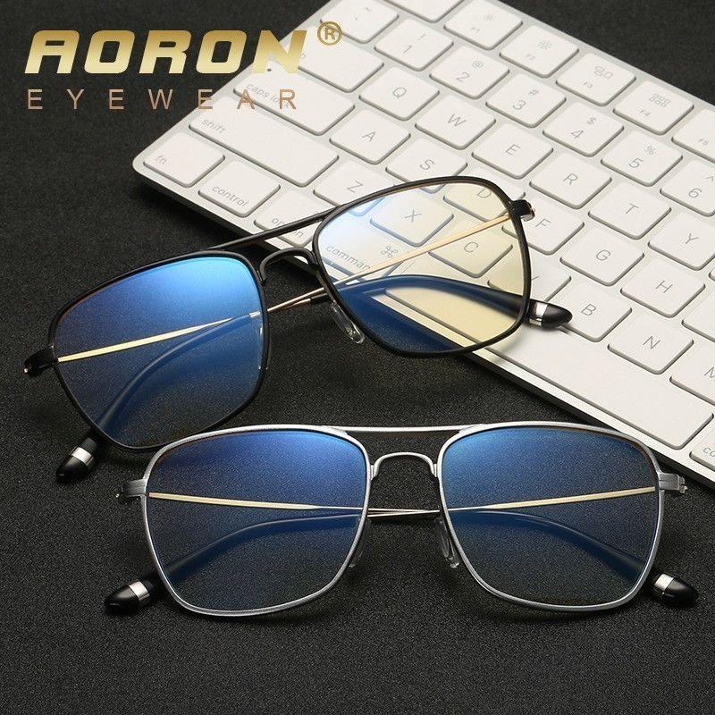 Aoron Aluminio Magnesio Gafas de protección contra la luz azul luz de lectura gafas marco de la computadora Gafas para hombres mujeres