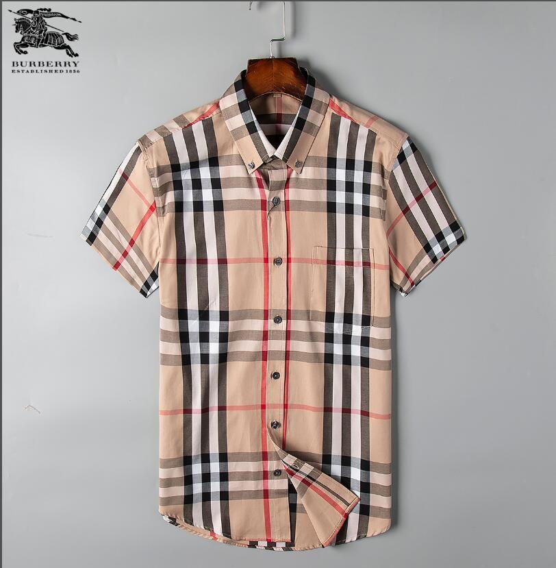 2019 hommes d'affaires décontractés de la marque chemise hommes manches courtes rayé slim fit masculina social masculin T-shirts nouveau chemises à carreaux 2053