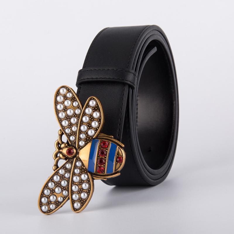 Bee curvatura de Homens de alta qualidade Mulheres Punk Belt Genuine couro real Masculino Strap H para Jeans