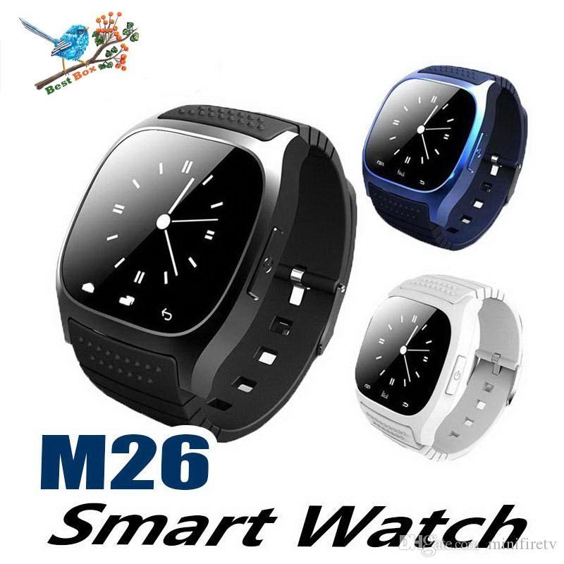M26 SmartWatches pas cher Montre Bluetooth intelligente avec podomètre de lecteur de musique pour IP Android Smart Phone mode montre Smart Clock