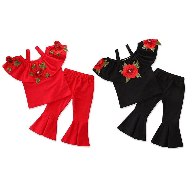Bambini Baby Girl Rose Flower Clothes Neonate Increspature Stampato Cinghia Top + Pantaloni a fondo a campana 2Pcs Outfits Abbigliamento estivo per bambini