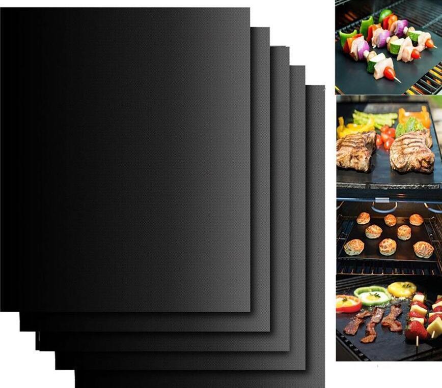 غير عصا شواء مات تفلون الطبخ الشوي نزهة الأسود الشواء ورقة قابلة لإعادة الاستخدام لا عصا شواء مات المقاومة للحرارة أداة مطبخ LSK70