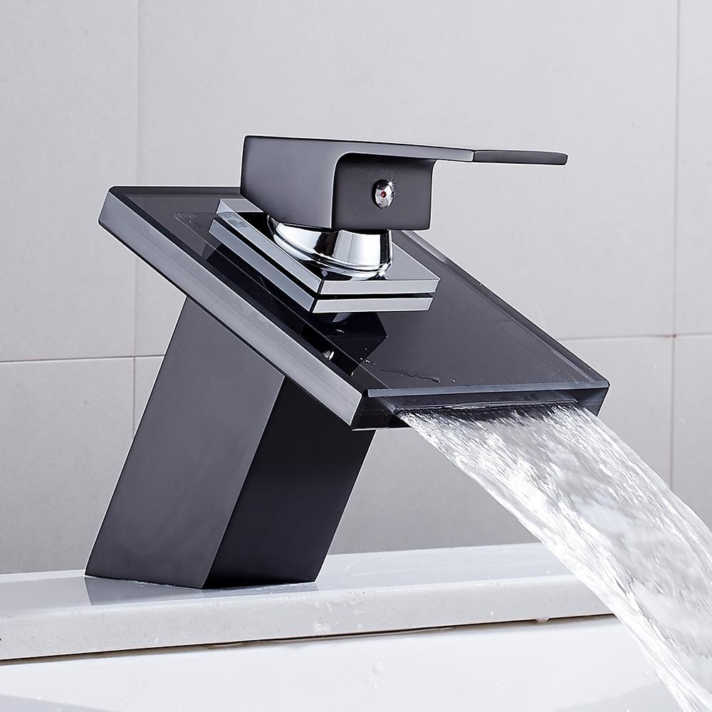 Bagno Cascata LED rubinetto in vetro cascata in ottone rubinetto rubinetto bagno miscelatore rubinetto per lavabo montati con lavandino miscelatore miscelatore