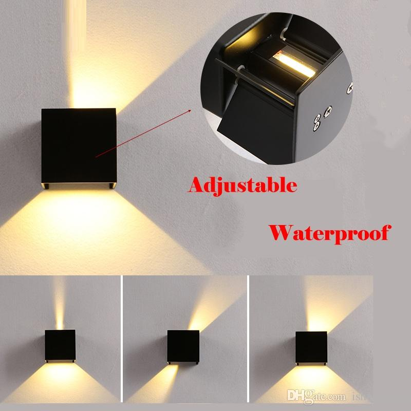Moderno Cubo de Superficie Ajustable Montado 7W LED Lámpara de Pared Al Aire Libre Impermeable IP65 Porche Lámparas de Pared Luz de Jardín Aplique