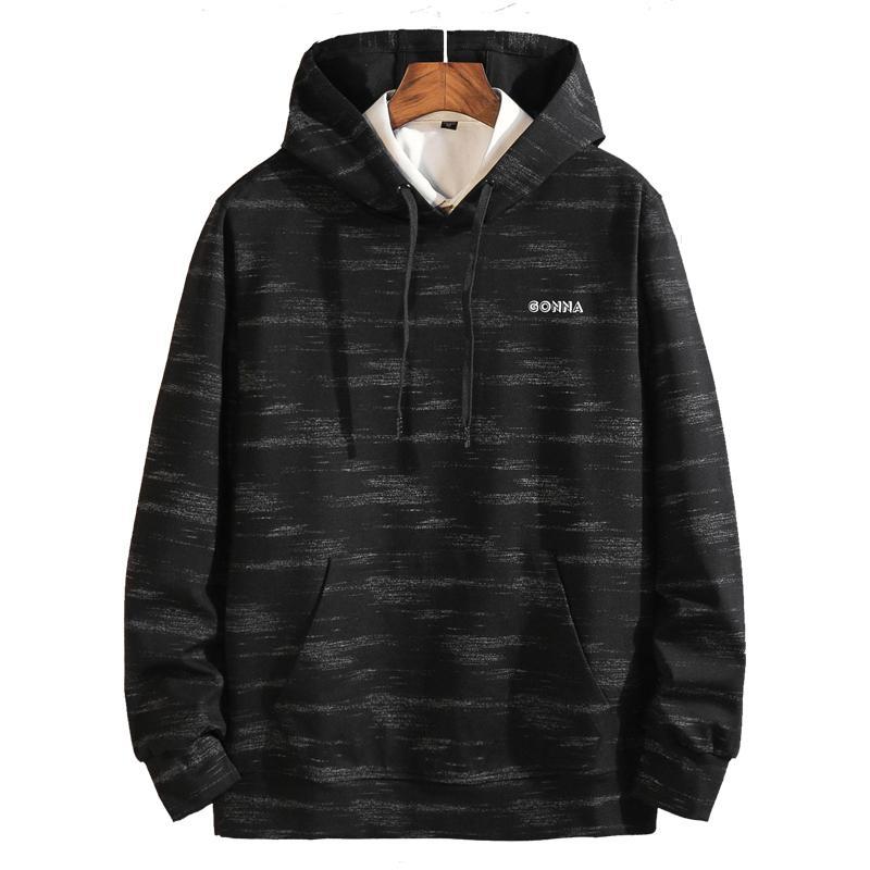 Clásica de Primavera Otoño 2020 Negro con capucha para hombre de la manera ocasional ropa de gran tamaño más el tamaño 5XL 6XL 7XL 8XL