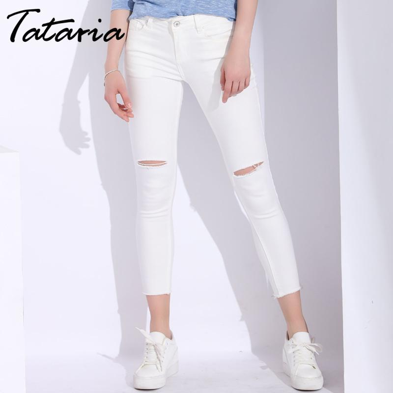 White Skinny Woman With Holes Slim Pencil Denim Pants Ripped Jeans For Women High Waist Stretch Capris Ladies Jean Femme C19041801