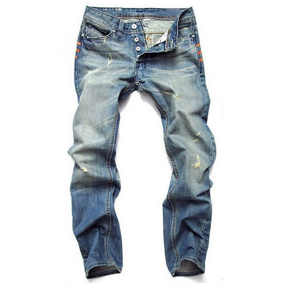 Wholesale Fashion Classic Button Jeans Mens Hollow Light Blue Straight Slim Fit Denim Biker Jeans Pants Long Pants Stylish Straight 2019 Ne