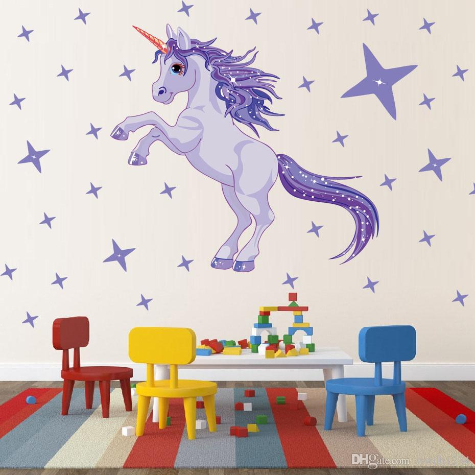 Beautiful Purple animals with Shining DIY Star Stickers Wall Art Nursery decals for Kids baby Room Bedroom Home decor Mural Gift