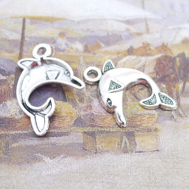 B2641 25 * 32 millimetri Dolphin argento antico Unire oro Ricambi Prodotto Diy100 individuale / Pacchetto 1,9 G