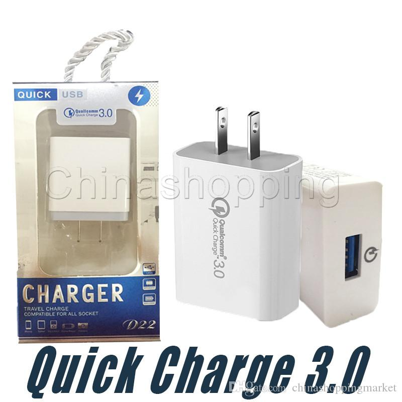 QC 3.0 Fast Charge Adapter QC3.0 Quick Charge Wall Charger US EU Travel Wall Universal Mobile Phone Charger For Samsung Xiaomi