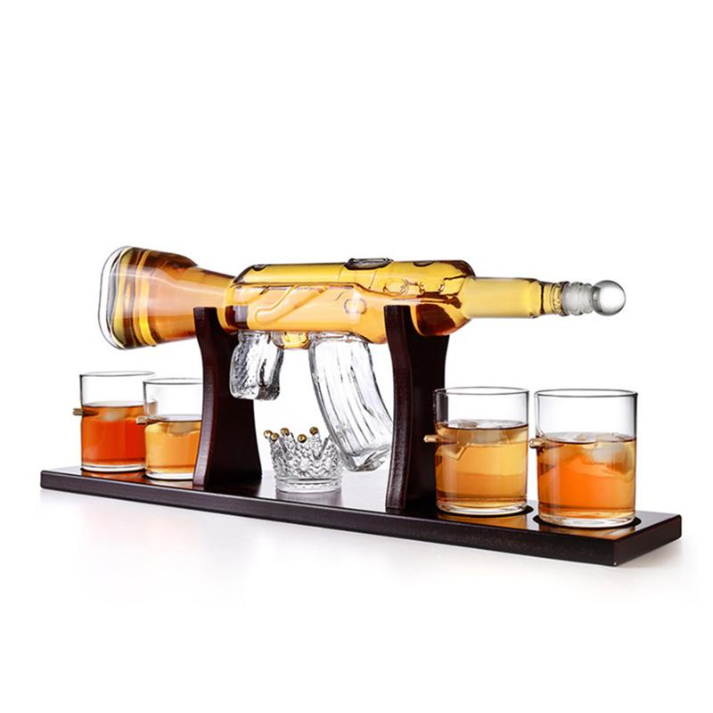 Home use High borosilicate glass drink ware wine decanter, gun shape glass bottle, glass Whiskey set with wooden tray and bullet cup