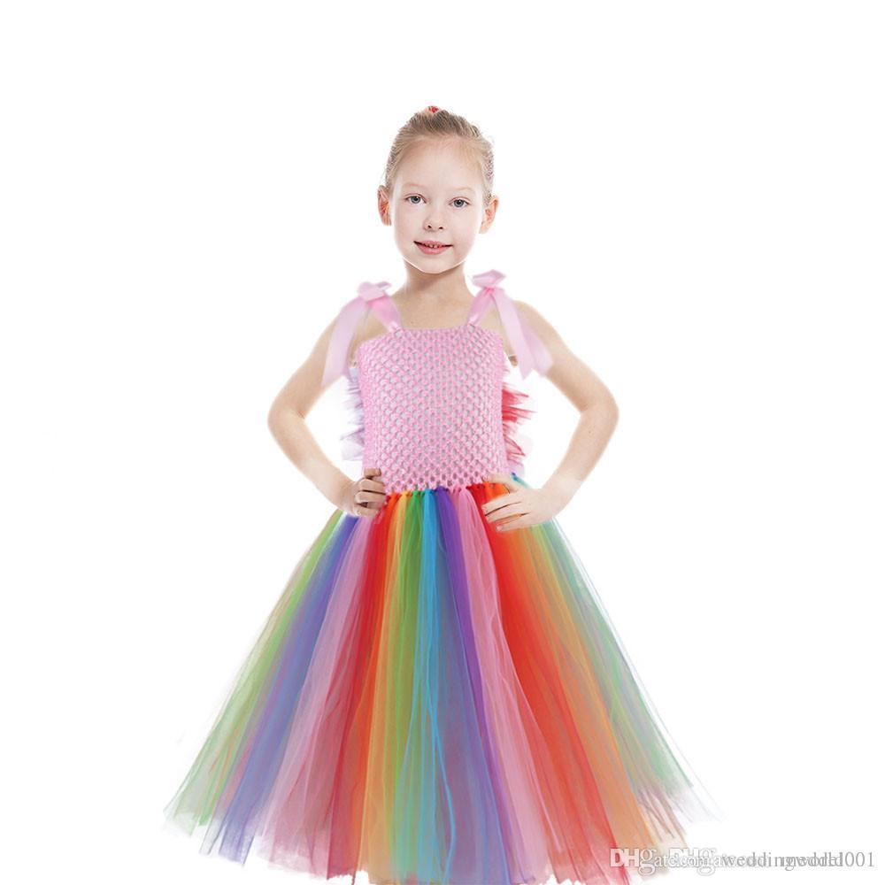 Flowers Princess Unicorn Tutu Dress Baby Girl Tulle Dress Summer Children Kids Back to School Party Dresses Halloween Costume