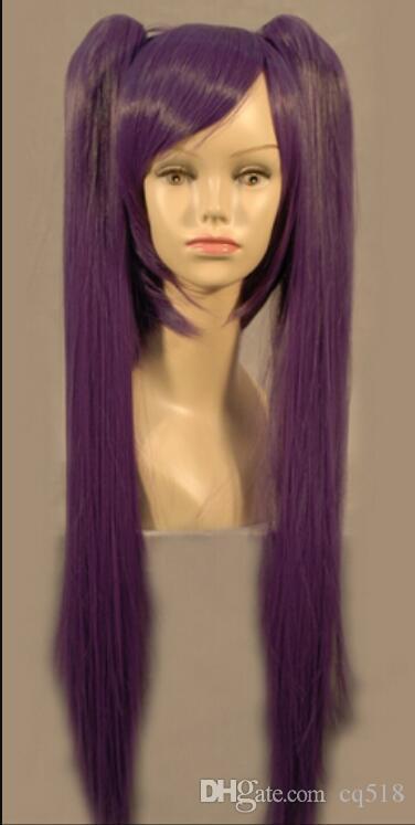Peruca frete grátis Vocaloid Miku Longo Roxo Anime Costume Cosplay Hari peruca + duas tranças