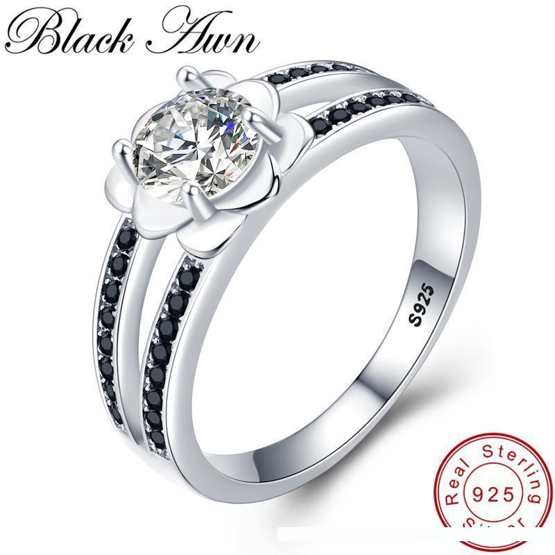 [BLACK AWN] 925 Sterling Silver Finger Ring Black Spinel Engagement Rings for Women Female Flower Sterling Silver Jewelry G092