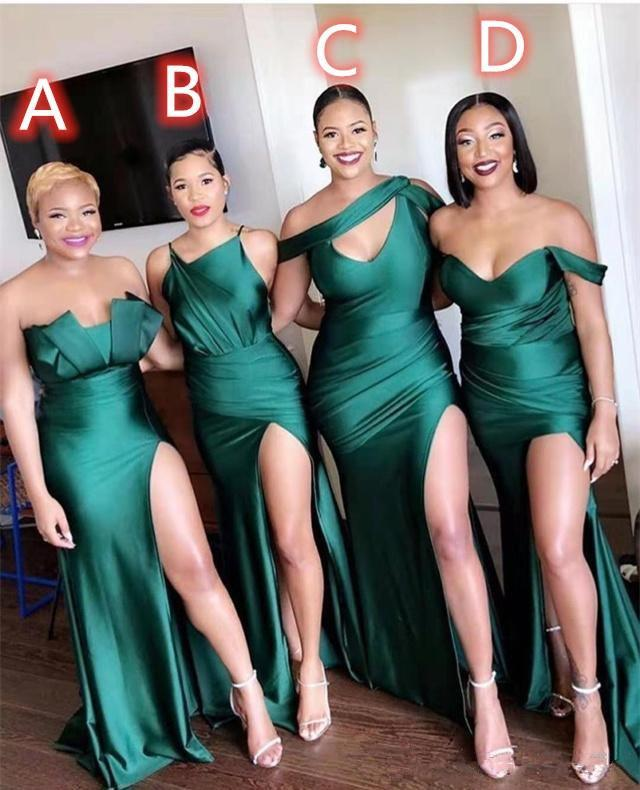 NEWEST 2020 Bridesmaid Dresses High Side Split Long Sexy Maid of Honor Dress Difference Neckline Wedding Party Gowns