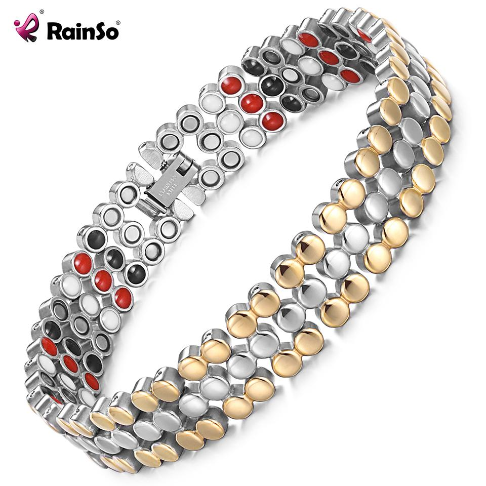 RainSo Stainless Steel Magnetic Charm Bracelets for Women Bio Energy Therapy Femme Health Jewelry Friendship Gift