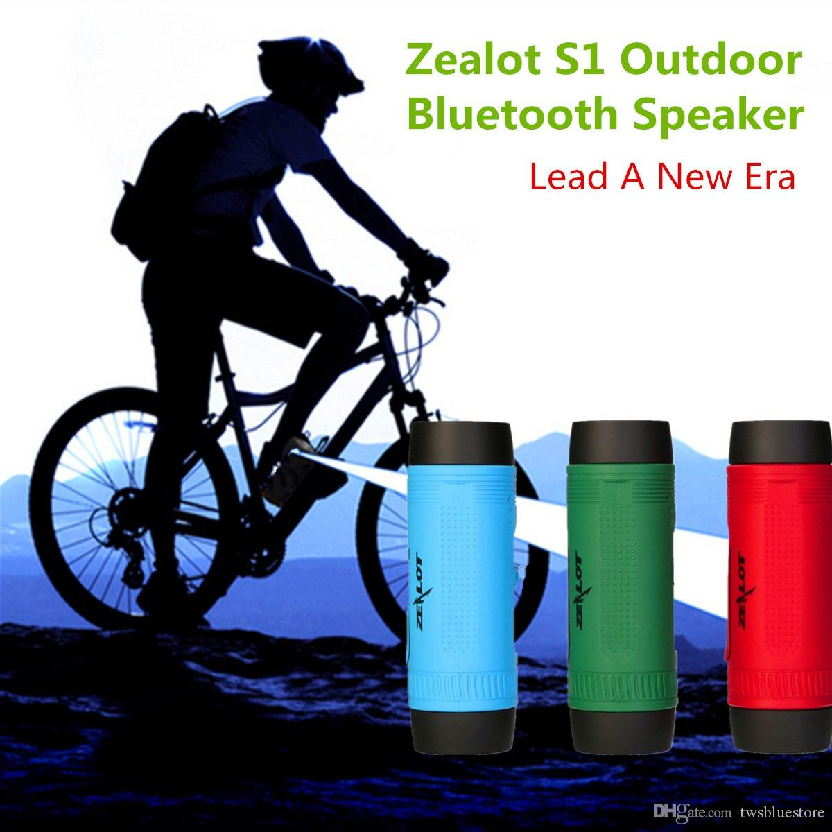 ZEALOT S1 Cycling Stereo Bluetooth Speakers Wireless Column Subwoofer LED Flashlight FM Radio 4000mAh Battery TF Card Mp3 Music Players