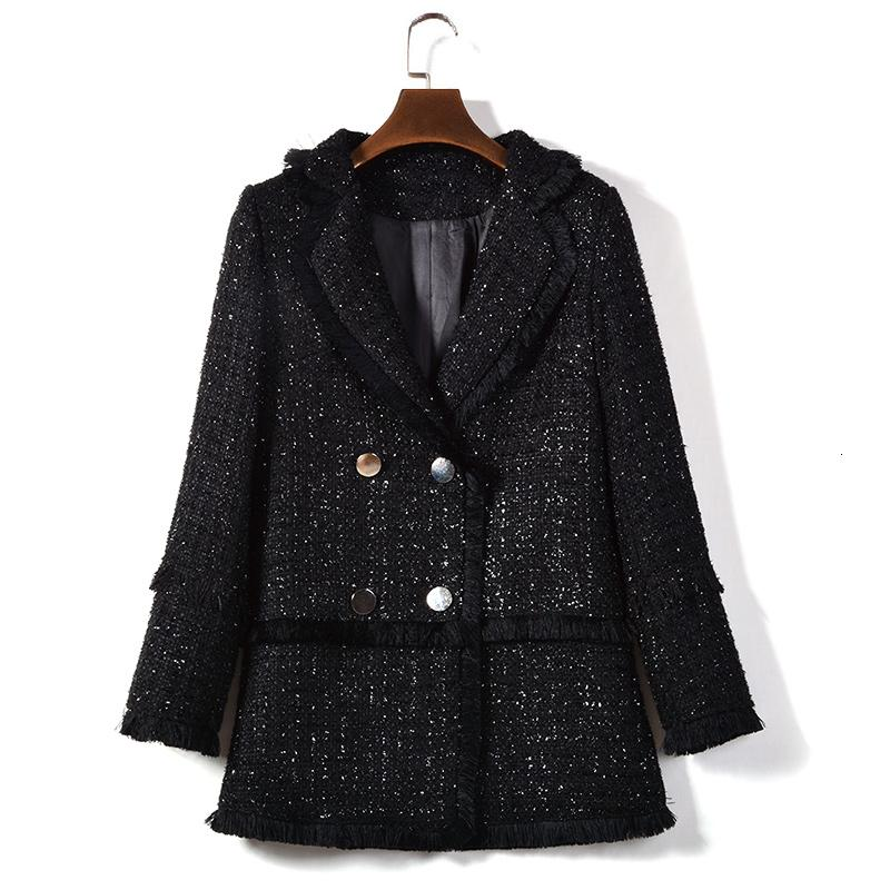 Hamaliel alta calidad Damas gira el collar abajo Tweed Coat 2019 chaqueta de invierno de la caída de las mujeres Wollen la borla de la armadura gruesa Negro Prendas T191021